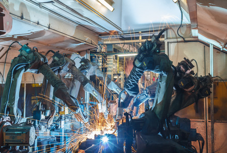 factory line: Welding robots movement in a car factory