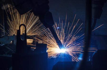 car factory: Welding robots movement in a car factory