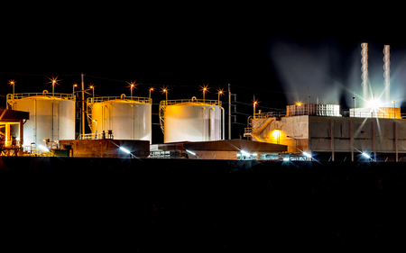 fuel storage: Big Industrial oil tanks in a refinery