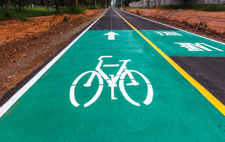 safer: Dedicated bicycle lanes, designed to make cycling safer. Stock Photo