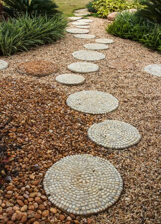 walk path: Walk path in garden park decorated with stone