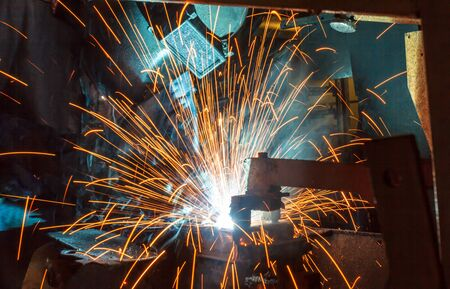 prefabricate: Welder and bright sparks. Construction and manufacturing