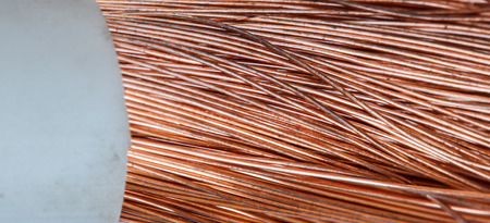 power industry: Cables bare wires closeup copper wire