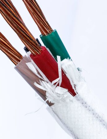 conductor electricity: closeup of a electric cable on a white background