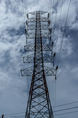 high voltage post Highvoltage tower sky background.
