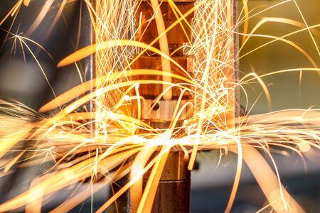 Spot welding machine Industrial automotive part in factory Stock Photo