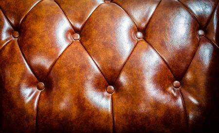 Classic leather sofa brown leather texture retro of close up