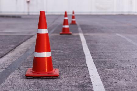 orange cones set up to direct traffic Banco de Imagens