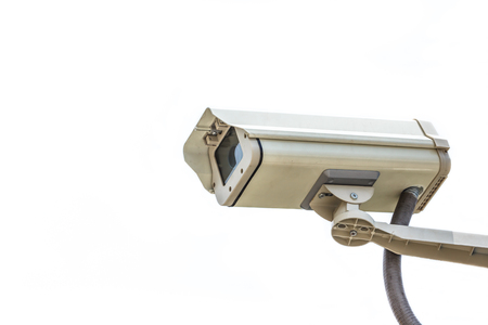 Security video camera on white background.