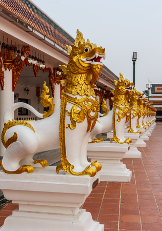 Lion statue in the beautiful temple relics, Outdoors