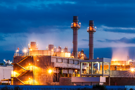 Twilight image of a power plant in a beautiful evening.