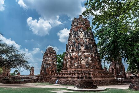 Historic Park old Pagoda ancient of Wat Mahathat in Phra Nakhon Si Ayutthaya, Thailand