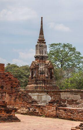 Old Pagoda ancient of Wat Mahathat in Phra Nakhon Si Ayutthaya, Thailand Stock Photo