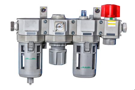 Meter Air Compressor in factory, Pressure air-conditioner Stock Photo