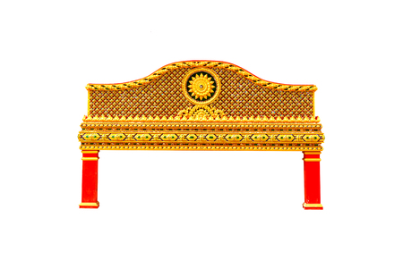 Beautiful arch of the temple isolated on white background.