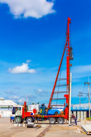 Baustelle mit Rammen arbeiten