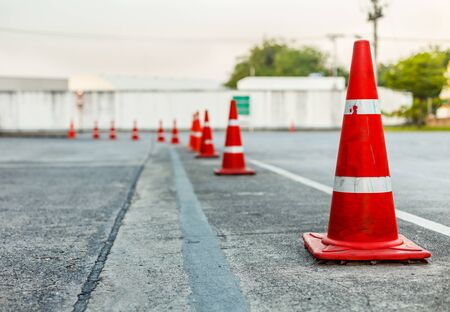 Traffic orange cone, alert, beware, background