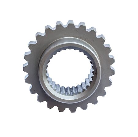 worn cog gear wheels on white reflective background.