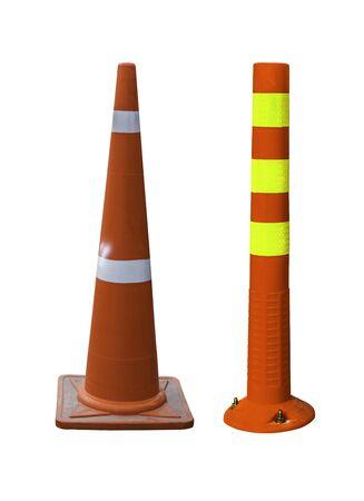 Orange traffic cones in the outdoors, alert, beware white background Banco de Imagens