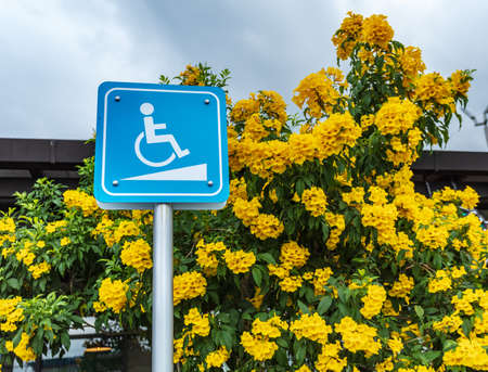 Signs for disabled people in public, outdoors