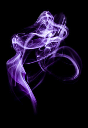Swirl of white smoke on black background Banque d'images