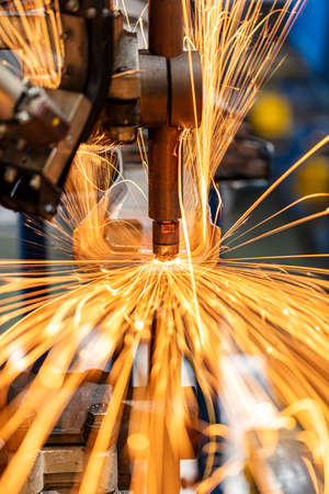 Sparks from spot welding in the automotive industry that are strange and beautiful.