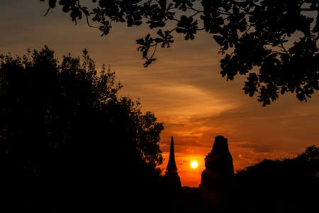 silhouette of Ayuthaya historical park Thailand, world heritage by Unesco Stock Photo