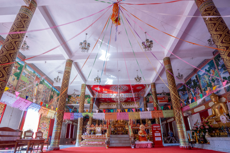 Boonyavas Temple, the red and white small temple in Chum Phae District Khonkaen Thailand 報道画像