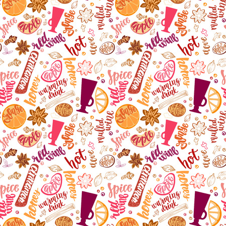 Decorative vector pattern with illustration and handwritten brush lettering. Background with hot wine spices and ingredients to cook mulled wine on white background.