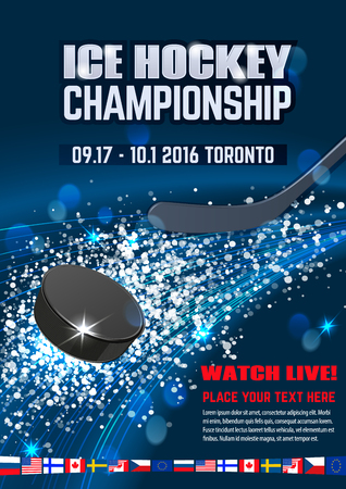 Ice explosion, abstract background. Board Empty Field Background Championship Toronto. Vertical poster. Illustration