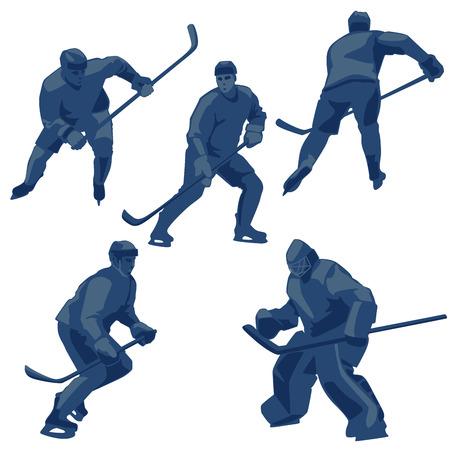 Sport action vector illustration: defenders, forwards and goalkeeper