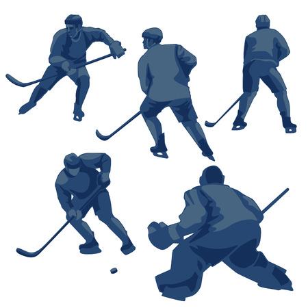 forwards: Sport action vector illustration: defenders, forwards and goalkeeper