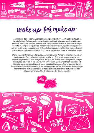 pensil: Concept poster or leaflet template. Handwritten vector brush letters and decorative cosmetic items on pink substrate.