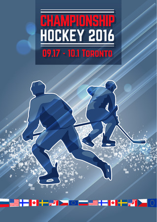 hockey players: Vector dynamic composition with silhouettes hockey players. Ice explosion, abstract background.