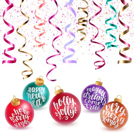 Holidays hand calligraphy quotes colorful balls with confetti and glitter. Vector decorative composition on white background.