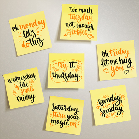 Vector handwritten words on yellow note papers for your design on light background.
