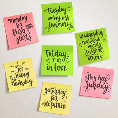 Vector handwritten words on colorful note papers for your design on light background.