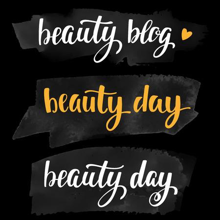 freebie: Vector lettering for your blog design on chalkboard dark background.