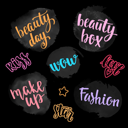beauty contest: Vector lettering for your blog design on chalkboard dark background.