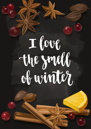 Decorative vector illustration and handwritten brush lettering. Background with spices and ingredients to cook mulled wine on chalkboard background.