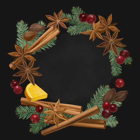 Decorative vector illustration with orange, cranberry, cinnamon, star anise, cardamom, fir and nutmeg wreath. Background with spices and ingredients to cook mulled wine.