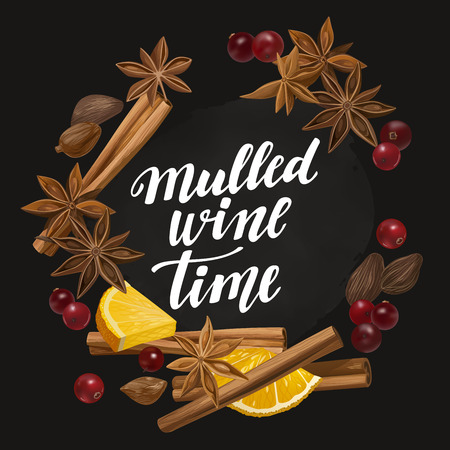 Decorative vector illustration and handwritten brush lettering for your design. Isolated orange, cranberry, cinnamon, star anise, cardamom and nutmeg wreath on chalkboard background. Illustration