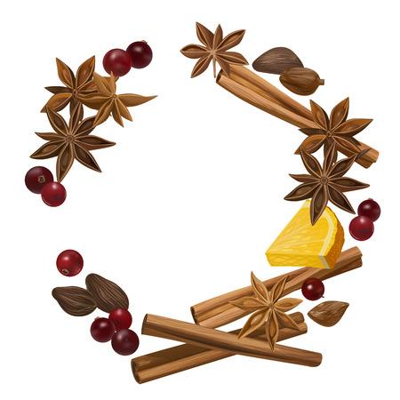 Decorative vector illustration for your design. Isolated orange, cranberry, cinnamon, star anise, cardamom and nutmeg wreath on white background. Ilustracja