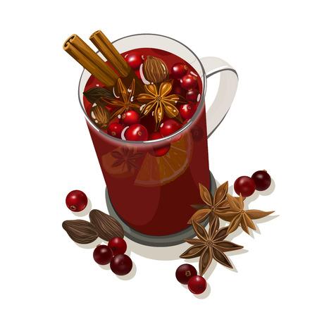 Dekorative Vektor-Illustration für Ihr Design. Glas Tasse mit Glühwein, Orange, Preiselbeeren, Zimt, Sternanis, Kardamom und Muskatnuss auf weißem Hintergrund.
