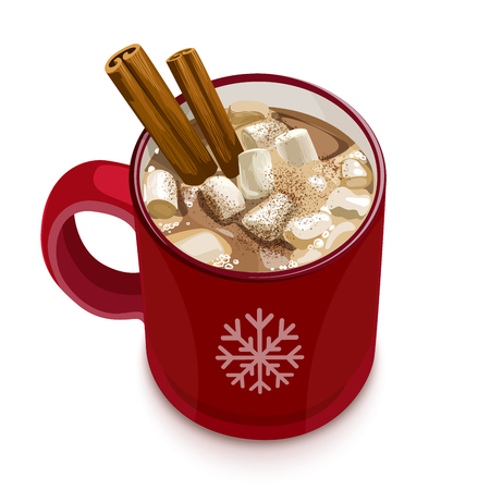 Decorative vector illustration red cup with cocoa, cinnamon and marshmallows. Christmas greeting card design element. Isolated vector illustration on white background. Stock Illustratie