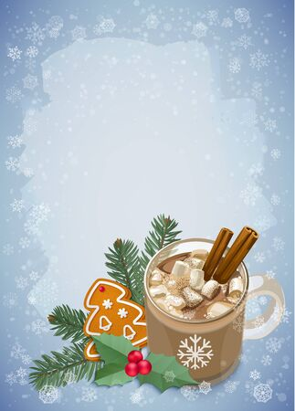 christmas cookie: Hot chocolate with marshmallows, holly, fir and gingerbread Christmas cookie on snowflakes background. Vector elements for banner, poster, leaflet design.