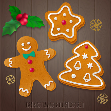 Vector isolated holiday elements for your design on dark wooden background.