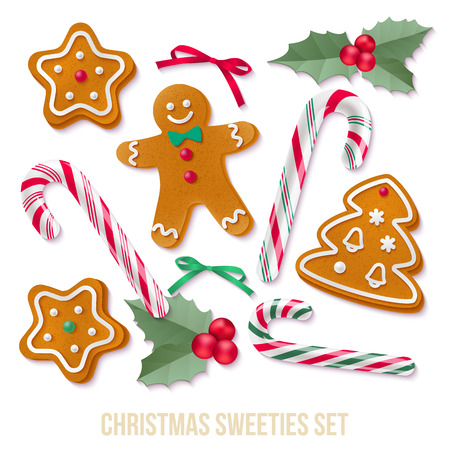 Vector isolated holiday elements for your design on white background.