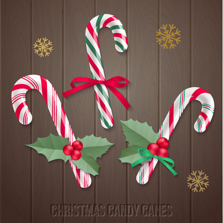 Vector holiday elements for your design on dark wooden background.
