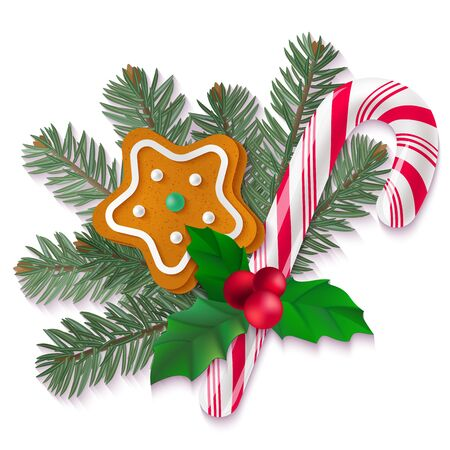 Candy cane, holly, fir and gingerbread Christmas cookie on white background. Vector isolated holiday elements for your design. Illustration